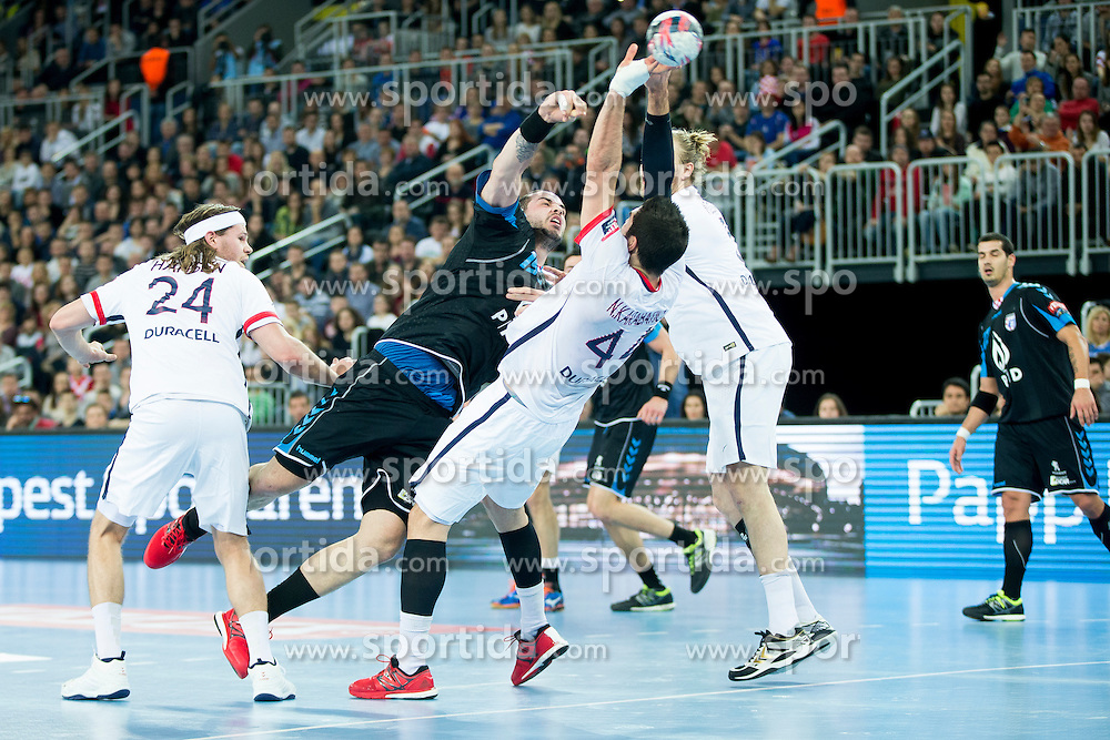 Leon Susnja #19 of PPD Zagreb and Nikola Karabatic #44 of Paris Sant-Germain during handball match between PPD Zagreb (CRO) and Paris Saint-Germain (FRA) in 11th Round of Group Phase of EHF Champions League 2015/16, on February 10, 2016 in Arena Zagreb, Zagreb, Croatia. Photo by Urban Urbanc / Sportida