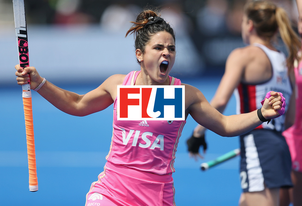 LONDON, ENGLAND - JUNE 19:  Maria Granatto of Argentina celebrates after scoring their third goal during the FIH Women's Hockey Champions Trophy match between USA and Argentina at Queen Elizabeth Olympic Park on June 19, 2016 in London, England.  (Photo by Alex Morton/Getty Images)