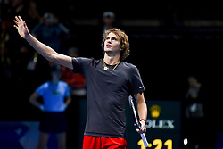 November 16, 2018 - London, United Kingdom - Alexander Zverev of Germany celebrates his victory in his round robin match against John Isner of the US during Day Six of the Nitto ATP Finals at The O2 Arena on November 16, 2018 in London, England. (Credit Image: © Alberto Pezzali/NurPhoto via ZUMA Press)