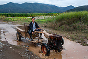 A farmer drives his tractor near Manhenuan village, Xishuangbanna, China. With the financial success of the nearby Dai minority cultural village at Olive Dam, residents of Manhenuan are trying to open their village up to tourism as well.
