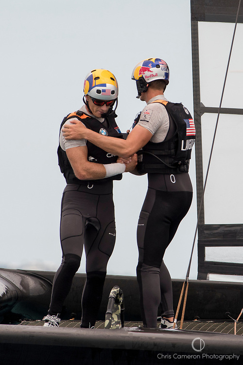 The Great Sound, Bermuda, 24th June 2017, Kyle Langford congratulates  Jimmy Spithill after Oracle Team USA beats Emirates Team New Zealand  in race six. Their first win of the regatta. Day three of racing in the America's Cup presented by louis Vuitton.