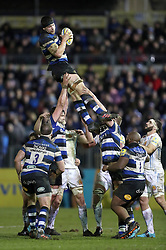 Bath's Charlie Ewels wins a linout during the Aviva Premiership match at the Recreation Ground, Bath.