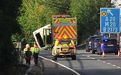 © Licensed to London News Pictures. 13/08/2018<br /> SWANLEY, UK.<br /> Coach overturns on the M25 Slip road junction 3 for Swanley.<br /> Photo credit: Grant Falvey/LNP
