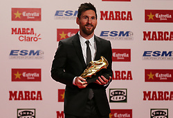 November 24, 2017 - Barcelona, Catalonia, Spain - Lionel Messi received his fourth Golden Boot award on Friday for leading all of Europe's leagues in scoring last season; It was his fourth award matching Cristiano Ronaldo as the award record-holders; Messi won the award by Scoring 37 goals in the Spanish league in 2016-17 season  (Credit Image: © Urbanandsport/NurPhoto via ZUMA Press)
