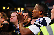 Picture by David Horn/Focus Images Ltd +44 7545 970036<br /> 09/11/2013<br /> Sylvain Distin of Everton remonstrates with unhappy Everton fans after the Barclays Premier League match at Selhurst Park, London.