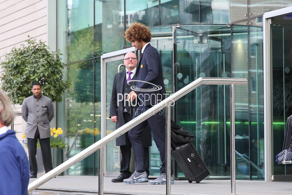 Marouane Fellaini Midfielder of Manchester United departs the Lowry hotel before the Manchester United vs Celta Vigo match  at Old Trafford, Manchester, United Kingdom on 11 May 2017. Photo by Phil Duncan.