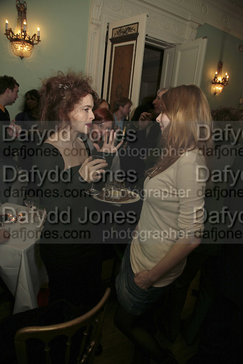 HELENA BONHAM-CARTER AND RACHEL HURD-WOOD, PARTY AT DARTMOUTH HOUSE AFTER A PREMIERE SCREENING OF PERFUME AT THE CURZON. LONDON.<br />