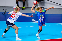 02-12-2019 JAP: Slovenia - Norway, Kumamoto<br /> Second day 24th IHF Womenís Handball World Championship, Slovenia lost the second match against Norway with 20 - 36. / Marit Rosberg Jacobsen #20 of Norway, Polona Baric #13 of Slovenia