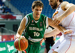 Bostjan Nachbar of Slovenia vs Jorge Garbajosa of Spain during the fifth-place basketball match between National teams of Slovenia and Spain at 2010 FIBA World Championships on September 10, 2010 at the Sinan Erdem Dome in Istanbul, Turkey.   (Photo By Vid Ponikvar / Sportida.com)