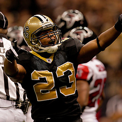 2009 November 02: New Orleans Saints running back Pierre Thomas (23) celebrates after scoring a first quarter touchdown against the Atlanta Falcons at the Louisiana Superdome in New Orleans, Louisiana.