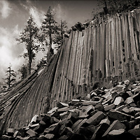 Dramatic shot of the Devil's Postpile, a natural rock formation in central California.