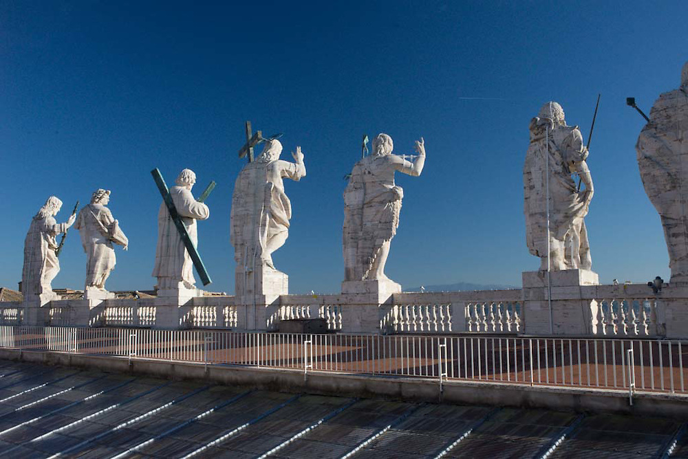 Jesus and the disciples atop the Vatican
