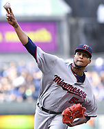 June 30, 2017 - Kansas City, MO, USA - Minnesota Twins starting pitcher Ervin Santana throws against the Kansas City Royals at Kauffman Stadium in Kansas City, Mo., on Friday, June 30, 2017. (Credit Image: © John Sleezer/TNS via ZUMA Wire)