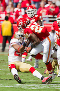 KANSAS CITY, MO - SEPTEMBER 26:   Jamaal Charles #25 of the Kansas City Chiefs is tackled by Nate Clements #22 of the San Francisco 49ers at Arrowhead Stadium on September 26, 2010 in Kansas City, Missouri.  The Chiefs defeated the 49ers 31-10.  (Photo by Wesley Hitt/Getty Images) *** Local Caption *** Jamaal Charles; Nate Clements