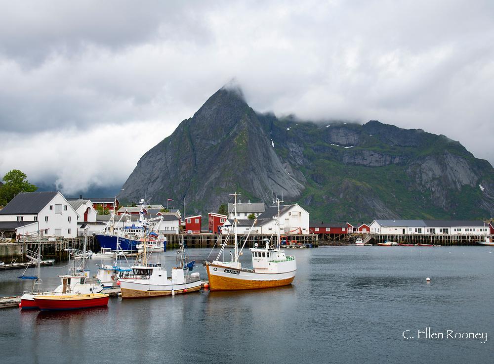 Fishing boats in the village of Hamnoy, Moskenesoya, the Lofoten Islands, Norway