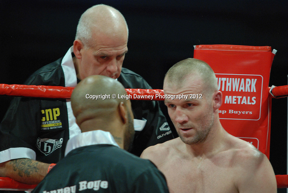 Tony Dodson (pictured with corner men) defeats John Anthony defeats Kirk Goodings in a 6x3 Super Middleweight contest on the 30th November 2012 at Aintree Equestrian Centre, Aintree, Liverpool. Frank Maloney Promotions. Pictures by Leigh Dawney. ©leighdawneyphotography 2012.
