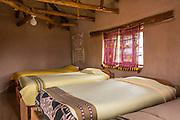 Guesthouse bedroom in Misminay Village, Sacred Valley, Peru.