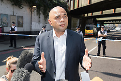 © Licensed to London News Pictures. 19/06/2017. London, UK. SAJID JAVID at the scene . One man is known to be dead and several inured after a hired van was driven in to people on Whadcoat Street in Finsbury Park in North London after late night prayers at a nearby mosque . Photo credit: Joel Goodman/LNP