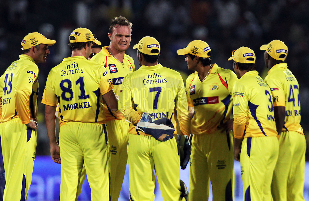 Chennai Super King players celebrate after getting a wicket during match 52 of the the Indian Premier League ( IPL ) Season 4 between the Rajasthan Royals and the Chennai Super Kings held at the Sawai Mansingh Stadium, Jaipur, Rajasthan, India on the 9th May 2011..Photo by BCCI/SPORTZPICS.
