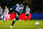 Fernando Forestieri of Sheffield Wednesday takes a shot during the EFL Sky Bet Championship match between Sheffield Wednesday and Stoke City at Hillsborough, Sheffield, England on 22 October 2019.