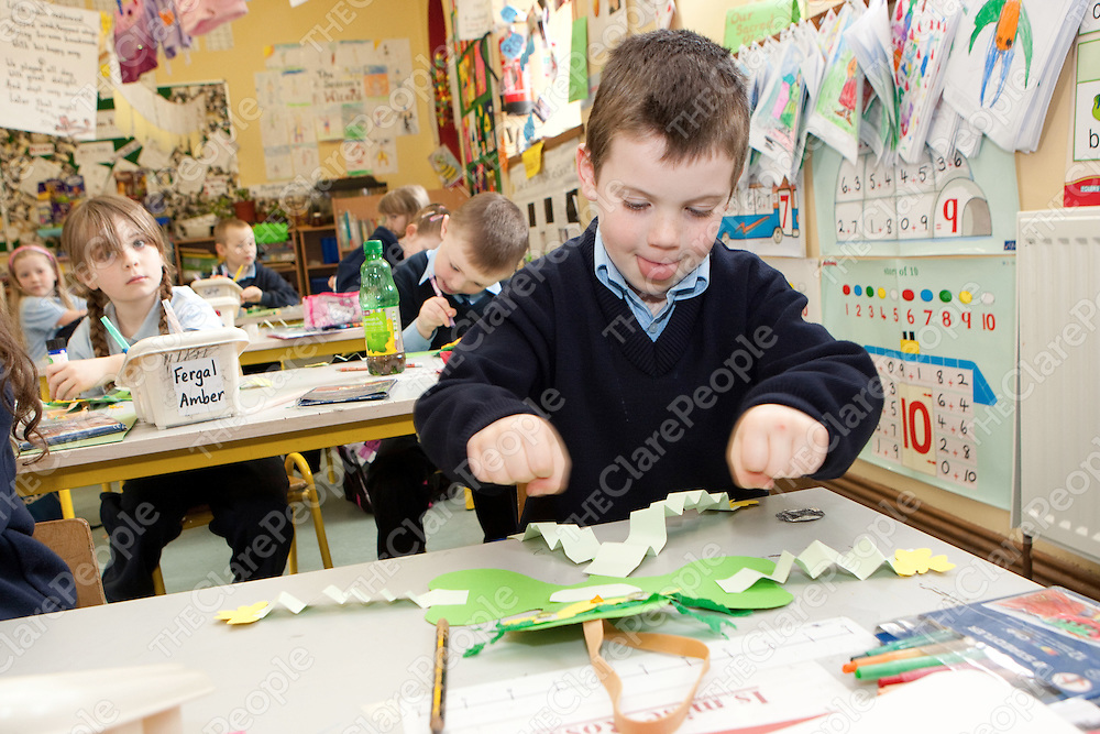 Ross Shannon making a Shamrock for St Patricks day  in Mullagh National School Mullagh Co.Clare.<br /> Pictured Credit Brian Gavin Press 22