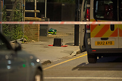 ©Licensed to London News Pictures 16/06/2020<br /> Croydon, UK. A man in his twenties is fight for his life in hospital tonight after being stabbed in Croydon, South East London. Police and paramedics were called at 7.45pm. Police are on scene and a cordon is in place. Photo credit: Grant Falvey/LNP
