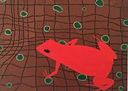 Mike Harridge.  Mantella Aurantiaca Madagascar<br /> 17&quot;   x   23&quot;<br /> Acrylic on canvas.<br /> 30,000/-