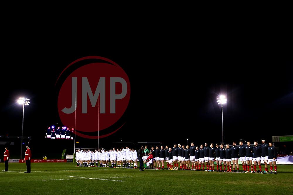 England U20 and Wales U20 line up for the national anthems - Mandatory by-line: Robbie Stephenson/JMP - 22/02/2019 - RUGBY - Zip World Stadium - Colwyn Bay, Wales - Wales U20 v England U20 - Under-20 Six Nations