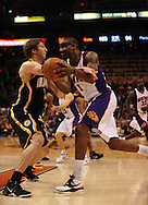 Mar. 6 2010; Phoenix, AZ, USA;  Phoenix Suns forward Amare Stoudemire (1) drives the ball against Indiana Pacers forward Troy Murphy (3) in the second half at the US Airways Center. The Suns defeated the Pacers 113 to 105. Mandatory Credit: Jennifer Stewart-US PRESSWIRE.