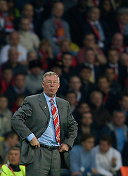 MOSCOW, RUSSIA - Wednesday, May 21, 2008: Manchester United's manager Alex Ferguson during the UEFA Champions League Final against Chelsea at the Luzhniki Stadium. (Photo by David Rawcliffe/Propaganda)