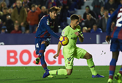 December 16, 2018 - Valencia, Valencia, Spain - Jose Campana of Levante UD and Lenglet of FC Barcelona during the La Liga match between Levante UD and FC Barcelona at Ciutat de Valencia Stadium on December 16, 2018 in Valencia, Spain. (Credit Image: © AFP7 via ZUMA Wire)