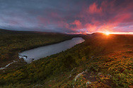A fiery sunset over Lake of the Clouds<br />