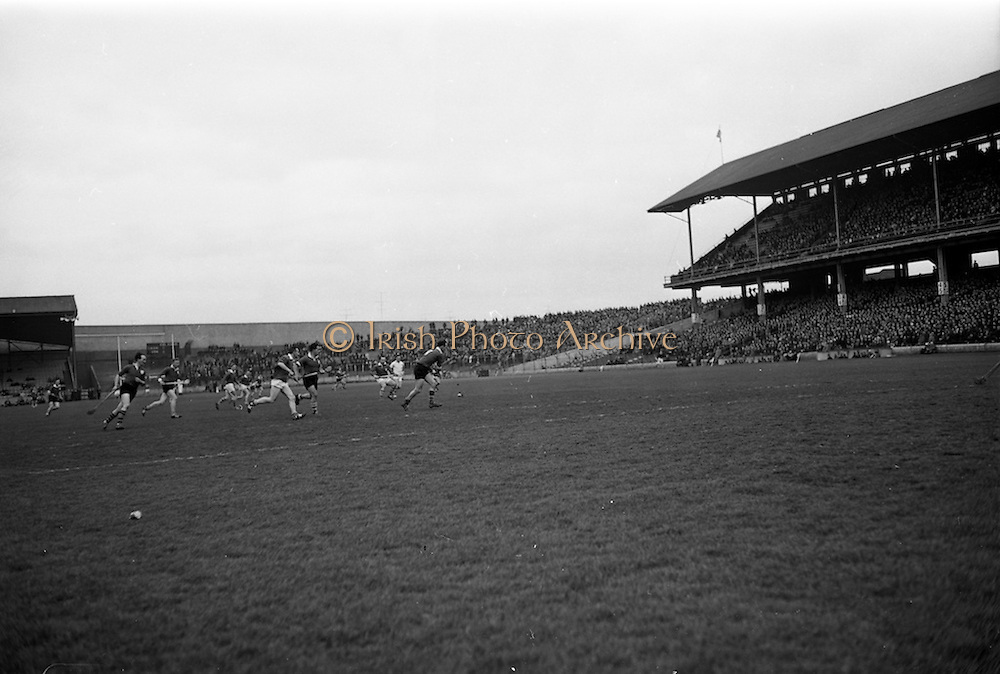 17/03/1967<br /> 03/17/1967<br /> 17 March 1967<br /> Railway Cup Final: Munster v Leinster at Croke Park, Dublin. <br /> A Leinster back (right) tries to stop a well supported Munster attack.