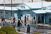 Panmunjom. Joint Security Area. Cleaning the South Korean side.