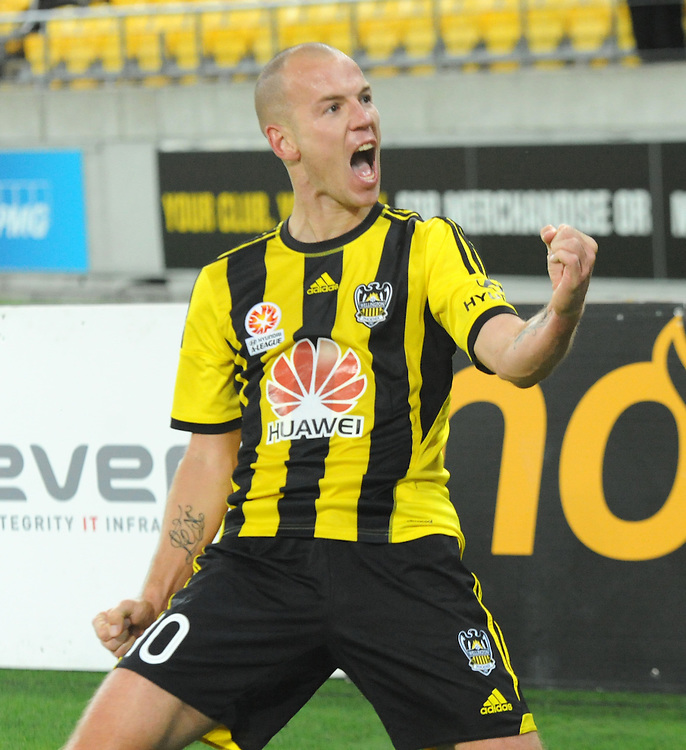 Phoenix's Stein Huysegems celebrates his goal against the Melbourne Victory FC in the A-League football match at Westpac Stadium, Wellington, New Zealand, Saturday, Januray 18, 2014. Credit:SNPA / Ross Setford