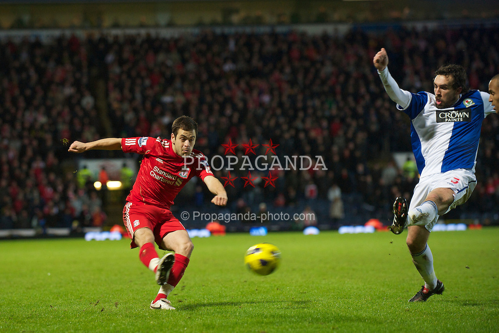 BLACKBURN, ENGLAND - Wednesday, January 5, 2011: Liverpool's Joe Cole in action against Blackburn Rovers during the Premiership match at Ewood Park. (Pic by: David Rawcliffe/Propaganda)