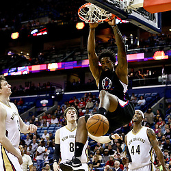 Mar 20, 2016; New Orleans, LA, USA; Los Angeles Clippers center DeAndre Jordan (6) dunks against the New Orleans Pelicans during the second quarter of a game at the Smoothie King Center. Mandatory Credit: Derick E. Hingle-USA TODAY Sports