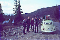 On the way home, 1966. Loaded beetle and four men