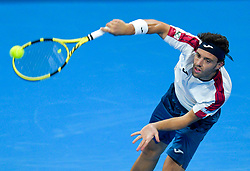 Marco Cecchinato of Italy serves to Dusan Lajovic of Serbia during their Quarter - Final of ATP Qatar Open Tennis match at the Khalifa International Tennis Complex in Doha, capital of Qatar, on January 03, 2019. Marco Cecchinato won 2-0  (Credit Image: © Nikku/Xinhua via ZUMA Wire)