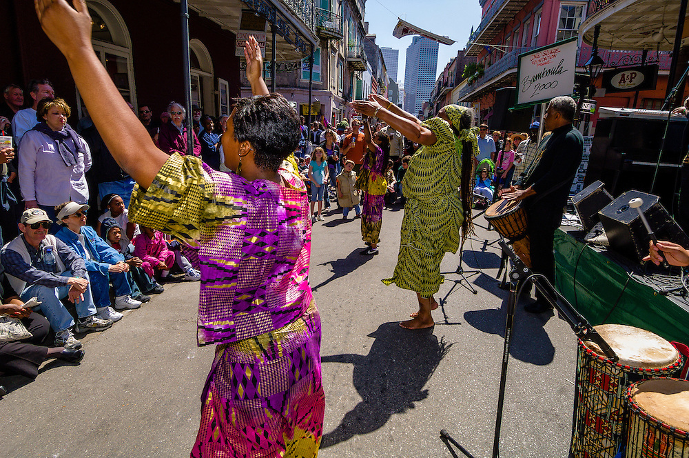 Bamboula 2000 performs on Royal Street during the French Quarter Festival, French Quarter, New Orleans, Louisiana, USA