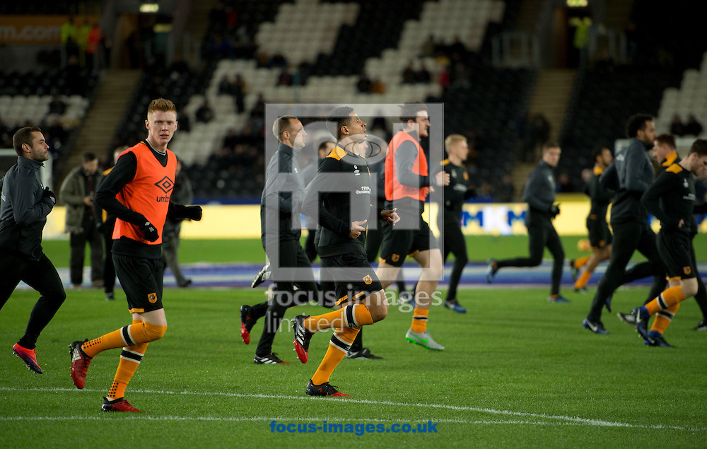Hull City players warm up before the Premier League match at the KCOM Stadium, Hull<br /> Picture by Russell Hart/Focus Images Ltd 07791 688 420<br /> 26/12/2016