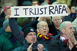 LIVERPOOL, ENGLAND - Saturday, December 26, 2009: A Liverpool  supporter shows his support for manager Rafael Benitez with a banner reading 'I Trust Rafa' before the Premiership match against Wolverhampton Wanderers at Anfield. (Photo by: David Rawcliffe/Propaganda)
