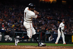 SAN FRANCISCO, CA - APRIL 08: Kevin Pillar #1 of the San Francisco Giants hits a grand slam home run against the San Diego Padres during the fourth inning at Oracle Park on April 8, 2019 in San Francisco, California. The San Diego Padres defeated the San Francisco Giants 6-5. (Photo by Jason O. Watson/Getty Images) *** Local Caption *** Kevin Pillar