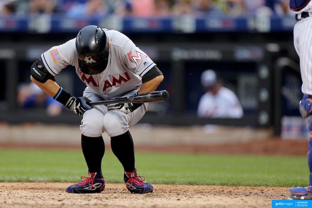 NEW YORK, NEW YORK - July 05: Ichiro Suzuki #51 of the Miami Marlins in the batters box preparing to bat during the Miami Marlins Vs New York Mets regular season MLB game at Citi Field on July 04, 2016 in New York City. (Photo by Tim Clayton/Corbis via Getty Images)