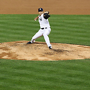 Hiroki Kuroda pitching for the New York Yankees during the New York Yankees V Boston Red Sox Baseball game which the New York Yankees won 14-2 to become American League East champions at Yankee Stadium, The Bronx, New York. 4th October 2012. Photo Tim Clayton