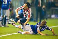 AGOVV - Willem II Jupiler League seizoen 2011-2012<br /> Danny Schreurs gaat hard onderuit bij Thomas De Corte<br /> Foto: Geert van Erven