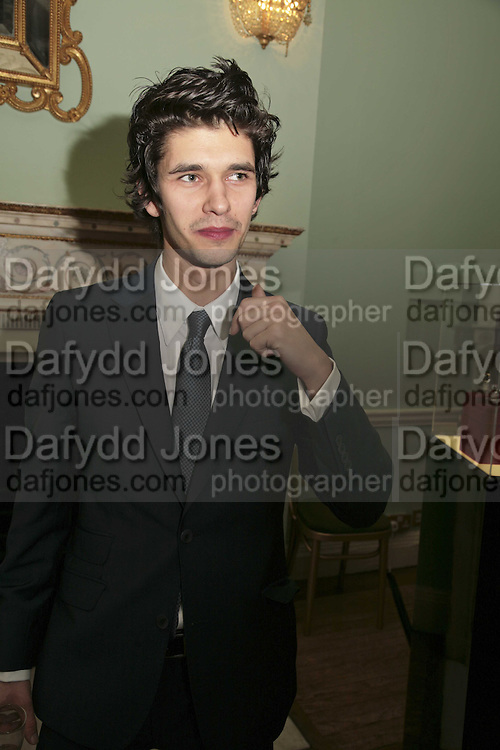 BEN WHISHAW, PARTY AT DARTMOUTH HOUSE AFTER A PREMIERE SCREENING OF PERFUME AT THE CURZON. LONDON.<br />