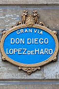 Street sign for Gran Via Don Diego Lopez de Haro in Castro Urdiales in Northern Spain