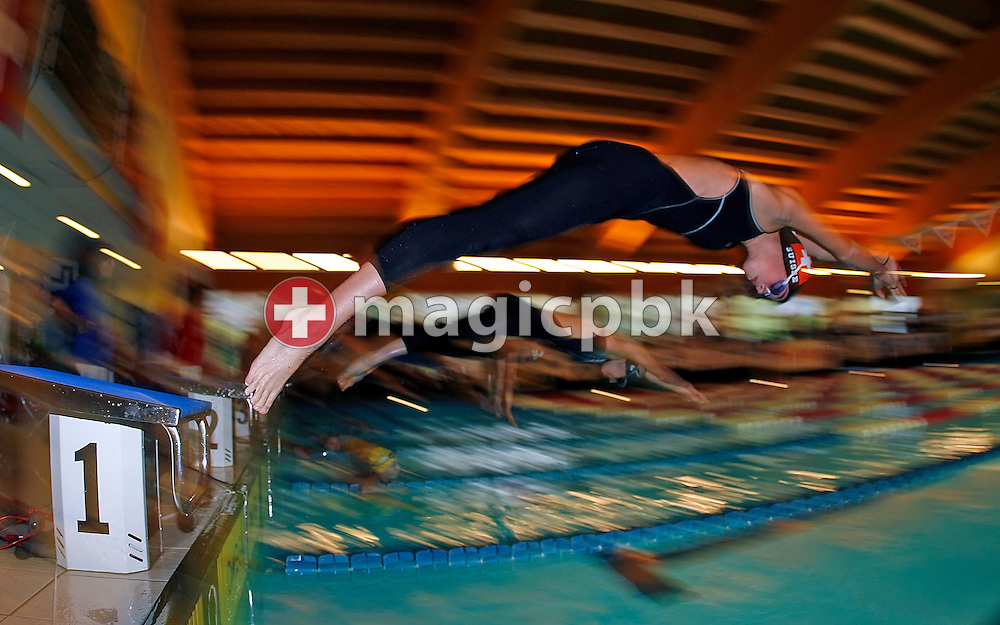 Angela Meuter of Switzerland starts in the women's 200m breaststroke heats on day one at the Swiss Short-Course Swimming Championships at the Centro Sportivo Atlantide in Savosa, Switzerland, Friday, Nov. 24, 2006. (Photo by Patrick B. Kraemer / MAGICPBK)