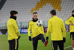 February 12, 2018 - Turin, Piedmont, Italy - Tottenham FC players during training on the eve of the first leg of the Round 16 of the UEFA Champions League 2017/18 between Juventus FC and Tottenham Hotspur FC at Allianz Stadium on 12 February, 2018 in Turin, Italy. (Credit Image: © Massimiliano Ferraro/NurPhoto via ZUMA Press)